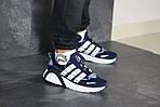 Чоловічі кросівки Adidas (темно-сині з білим), фото 6