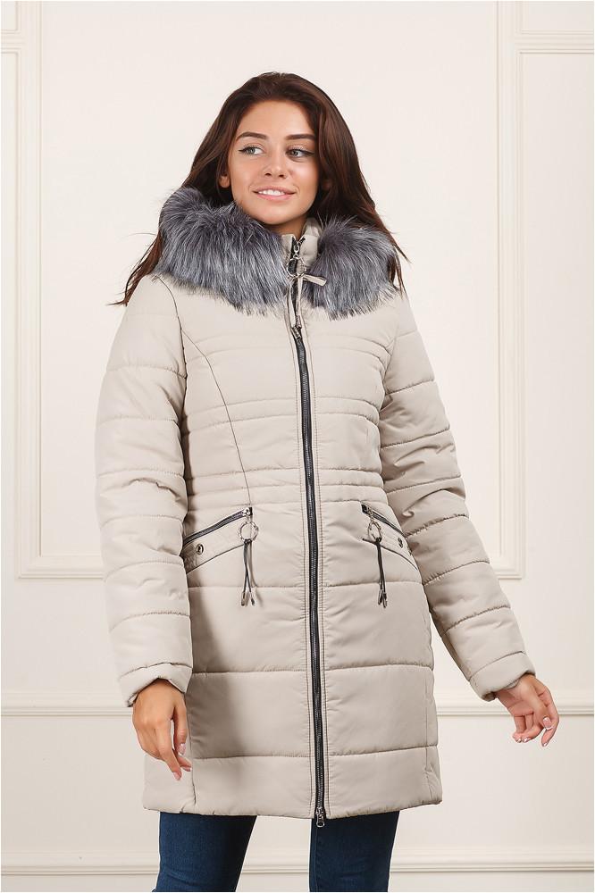 Зимняя куртка удлинённая Вива беж