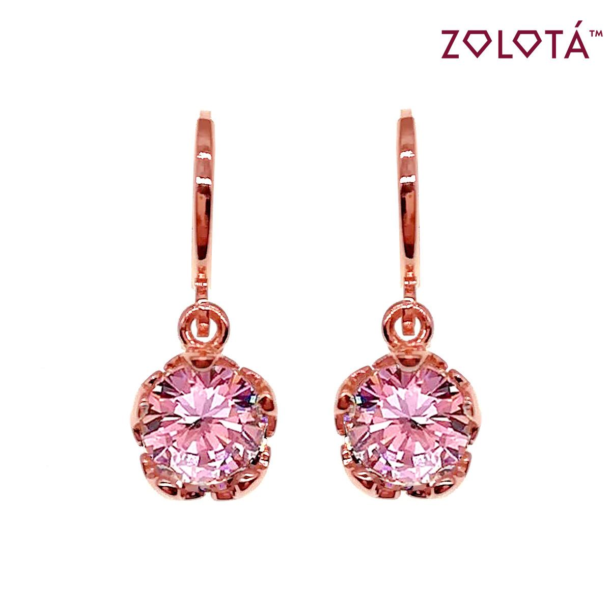 Серьги Zolota с розовыми фианитами (куб. цирконием), из медицинского золота, в позолоте, ЗЛ00654 (1)