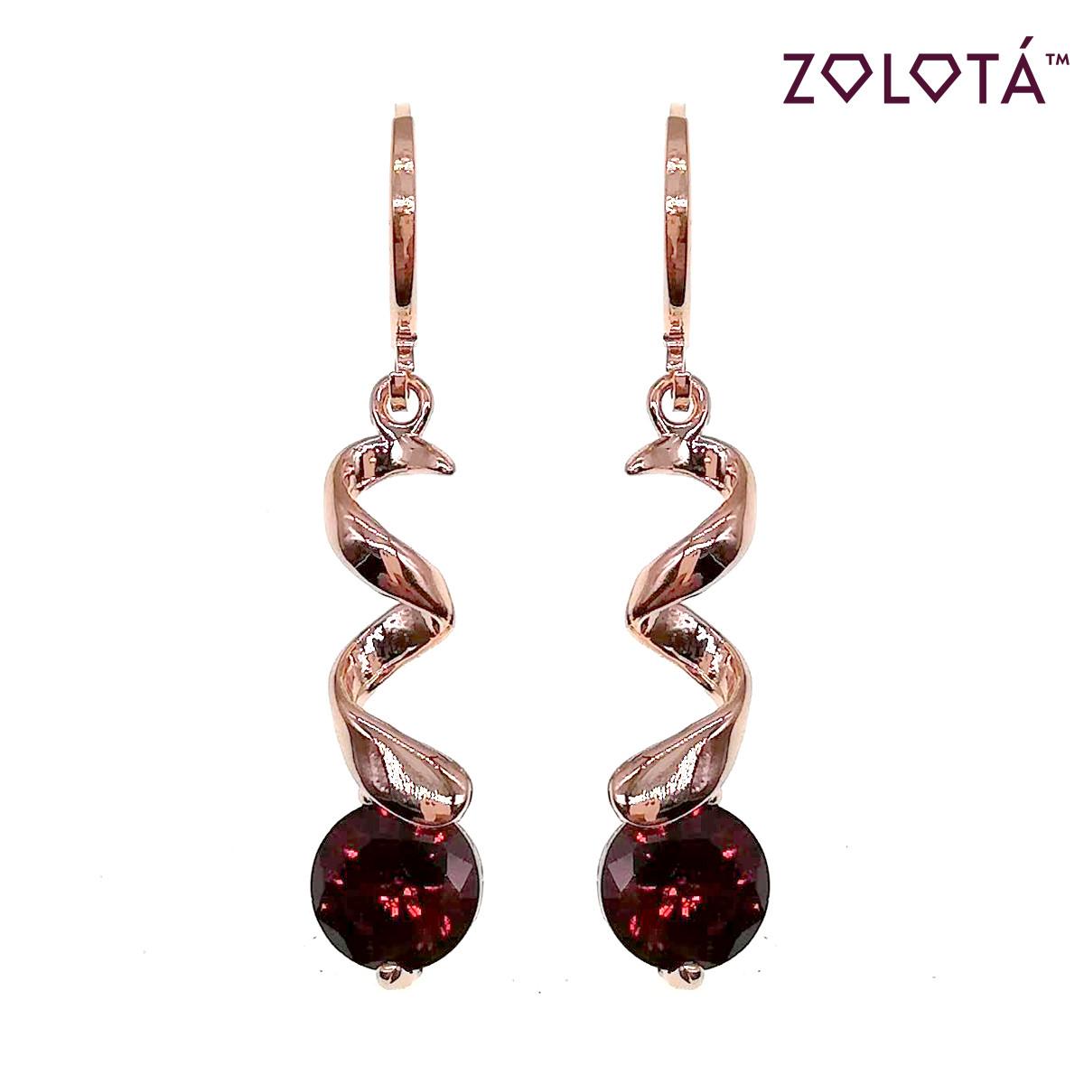 Серьги Zolota с темно-красными фианитами (куб. цирконием), из медицинского золота, в позолоте, ЗЛ00648 (1)