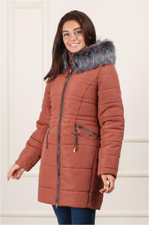 Зимняя куртка удлиненная Вива терракот