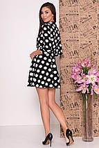 Демисезонное платье мини в крупный горох рукав три четверти цвет черный, фото 2