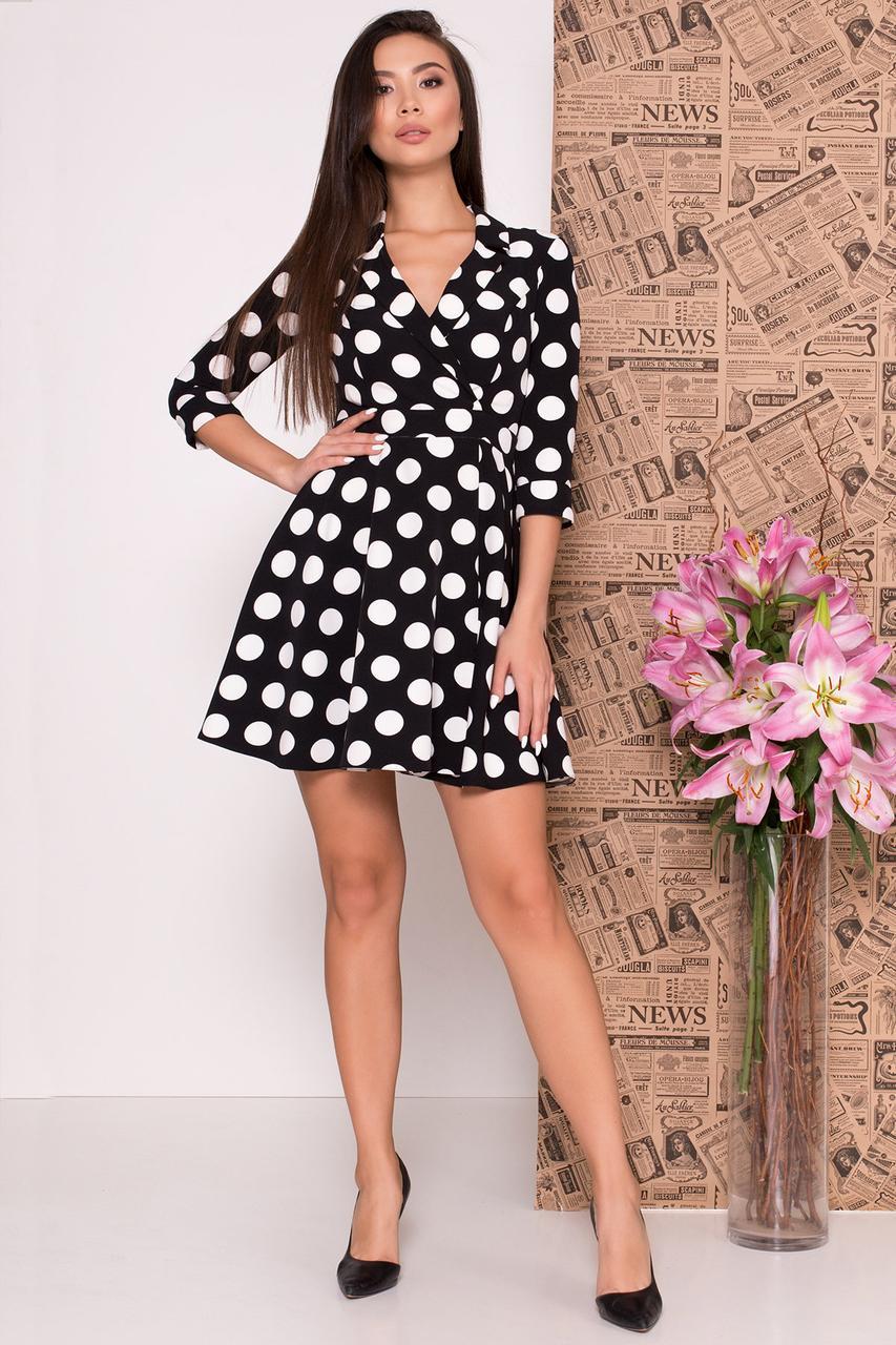 Демисезонное платье мини в крупный горох рукав три четверти цвет черный