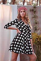 Демисезонное платье мини в крупный горох рукав три четверти цвет черный, фото 3