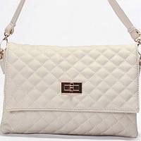 Женская сумка - клатчик Gilda Tohetti  в мелкую стежку светло серого цвета