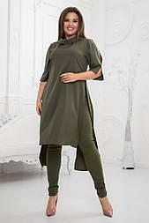 Женский брючный костюм больших размеров: туника и брюки (в расцветках)