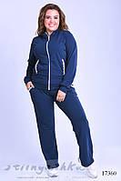 Удобный костюм большого размера синий с прошвой, фото 1