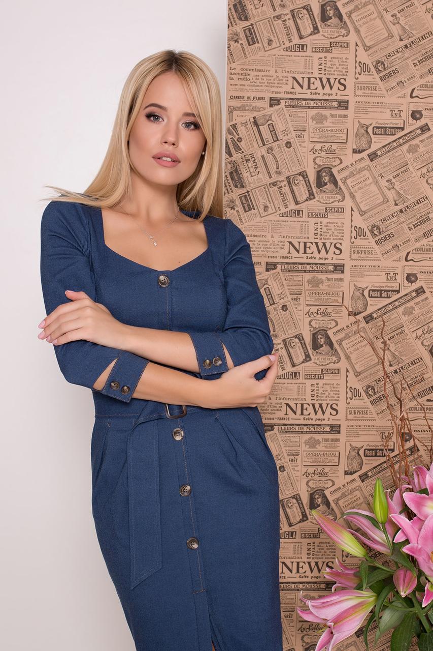 Офисное платье по фигуре до колен рукав три четверти цвет джинс