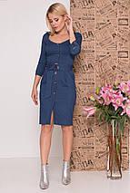 Офисное платье по фигуре до колен рукав три четверти цвет джинс, фото 3