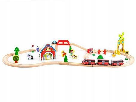 Деревянная железная дорога на батарейки EcoToys HM180995 53 елементов, фото 2