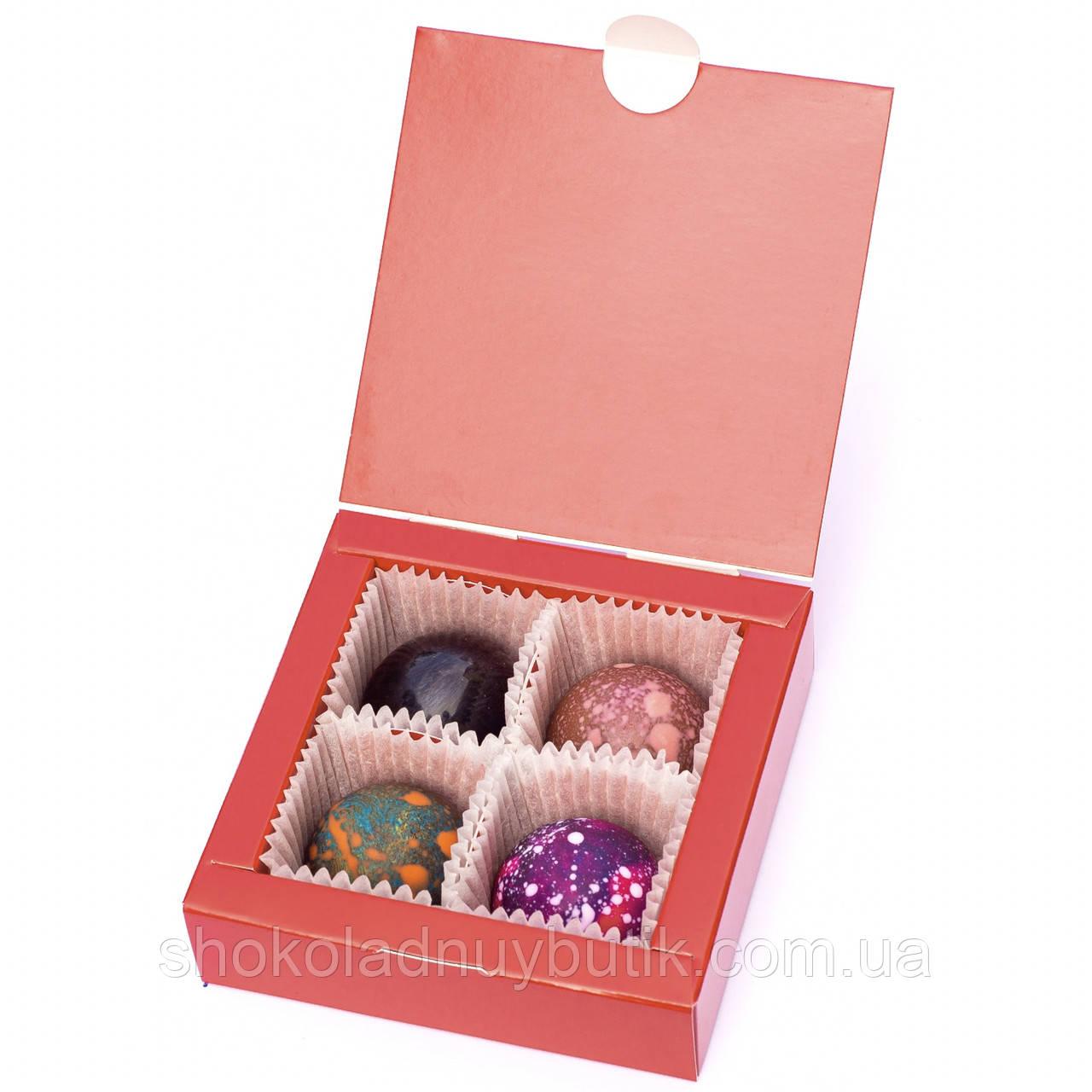 Шоколадные конфеты ручной роботы *Красная коробка на 4шт.*