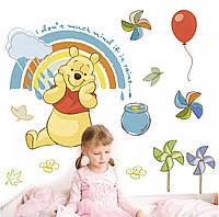 """Детская интерьерная виниловая наклейка """"Винни Пух и радуга"""""""