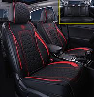 Автомобильные чехлы на сидения GS черный с красной строчкой для KIA авточехлы