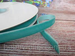 Лента бархатная, 1 см, цвет бирюзовый