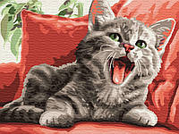 Картина по номерам Зевающий кот (BK-GEX5430) 40 х 50 см Brushme [Без коробки]