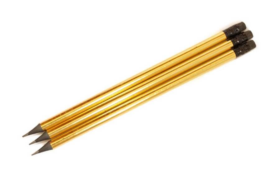 Олівець чорнографітний ООПТ золотий корпус фольгований, з чорною гумкою