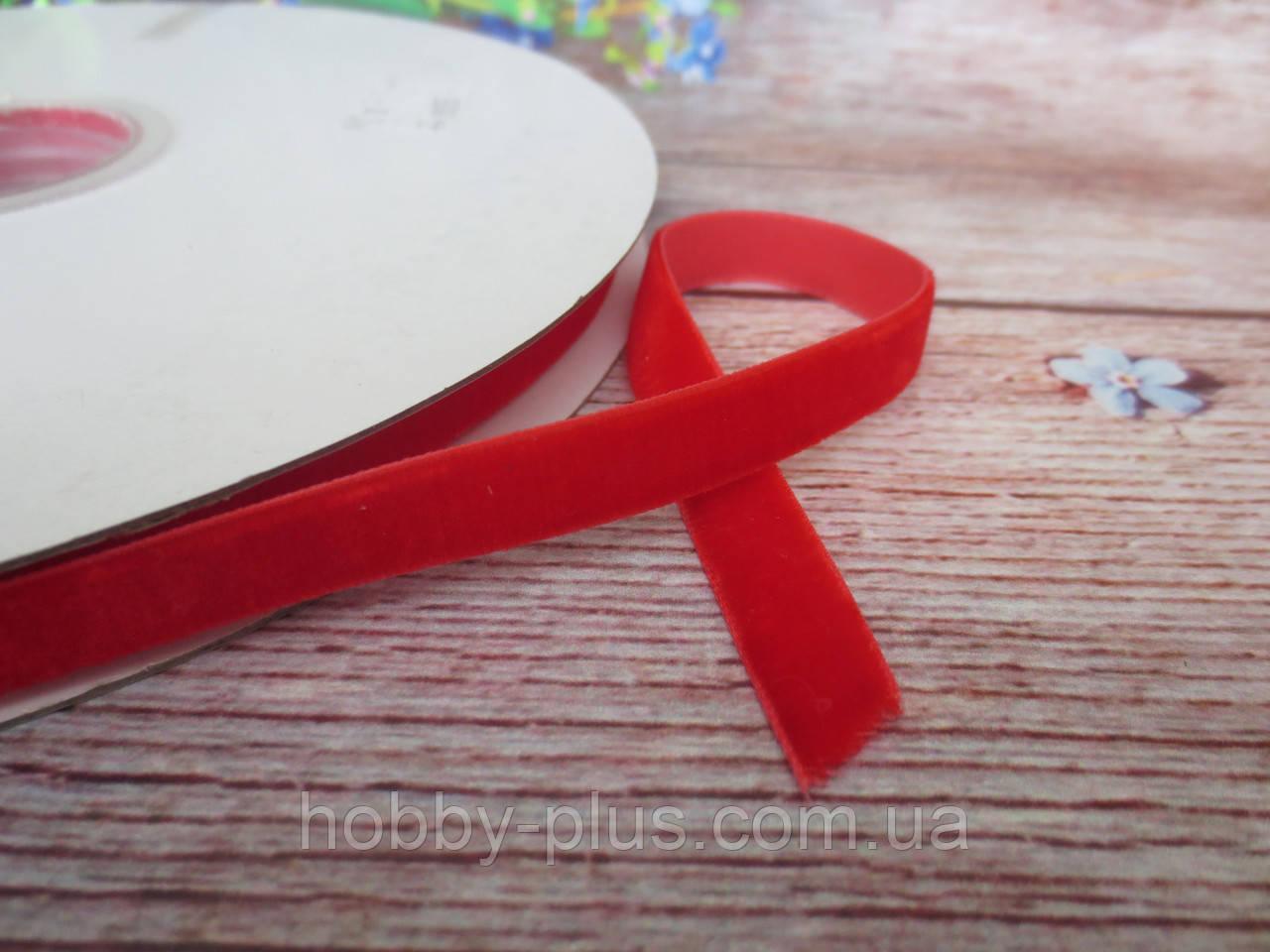 Лента бархатная, 1 см, цвет красный