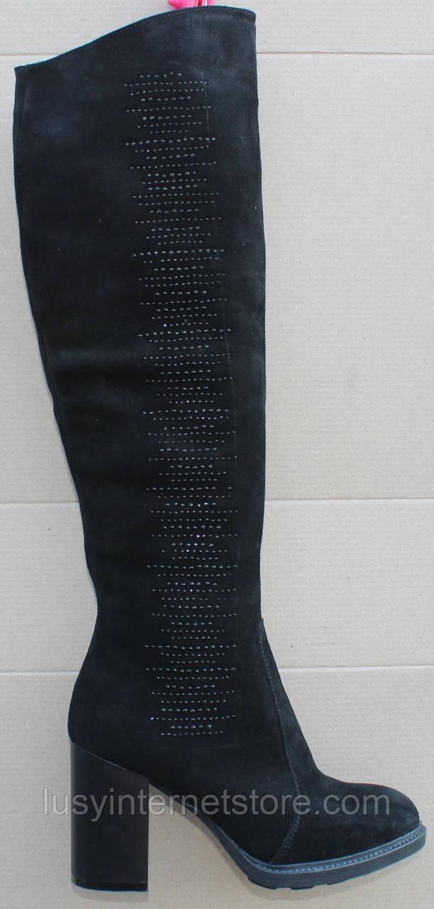 Сапоги женские высокие зимние замшевые на каблуке от производителя модель Ф881