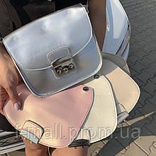 Женская сумка клатч натуральная кожа серебро (3180)