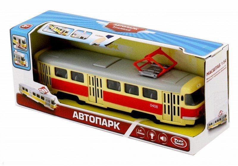 Игрушечный трамвай подсветка, звук, открываются двери, инерция