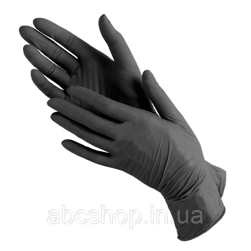 Перчатки нитриловые 100 штук в упаковке, размер М (черные)