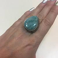 Амазонит кольцо капля с натуральным амазонитом в серебре 18,5 19 размер Индия, фото 1