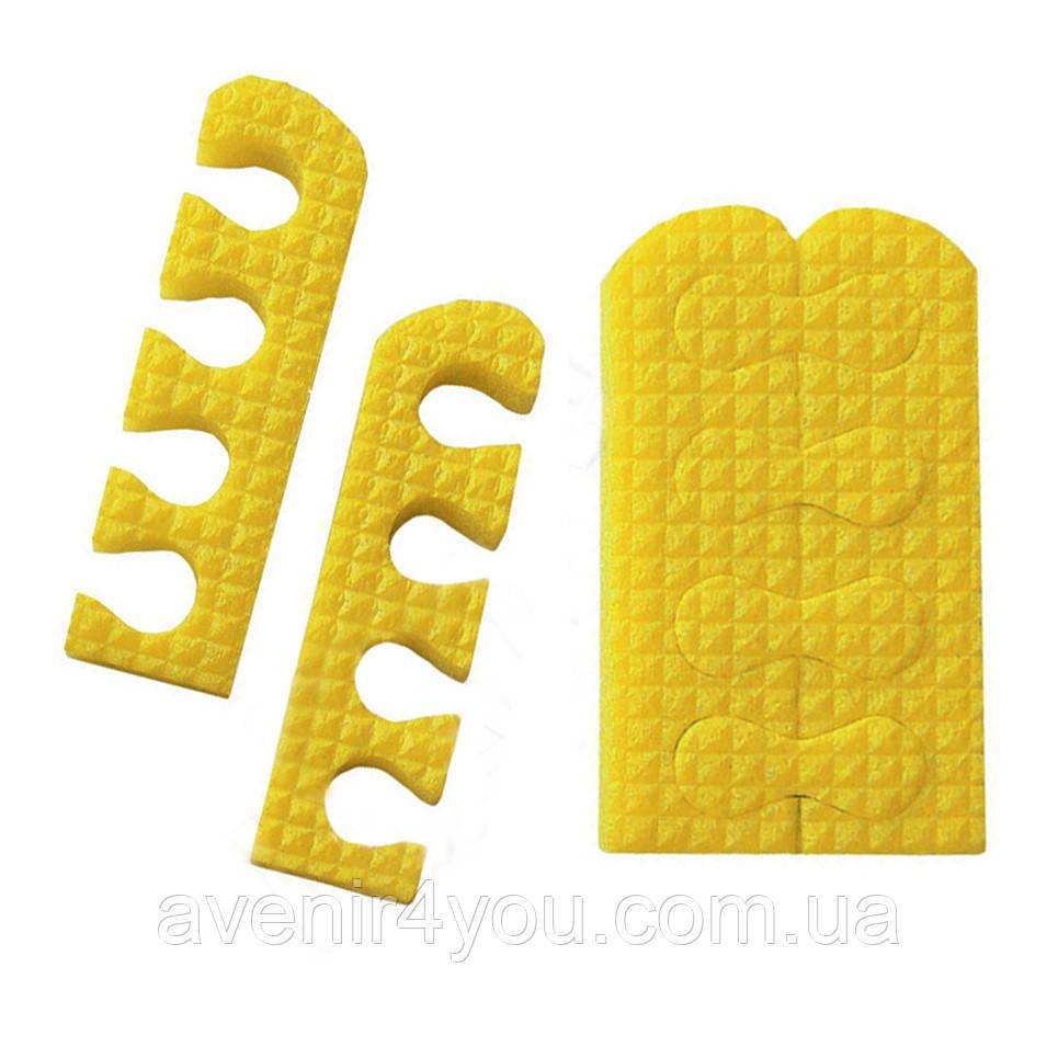 Распорки для педикюра (10 пар) пена. Желтые