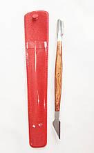 Лопатка манікюрна двостороння СТ-3 метал+дерево (пушер і топірець)