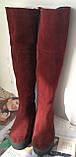 Демисезонные женские бордовые замшевые шикарные ботфорты Lion на змейке Европейка, фото 5