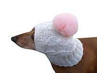 Вязанная шапка для собаки с помпоном кролик ручной работы
