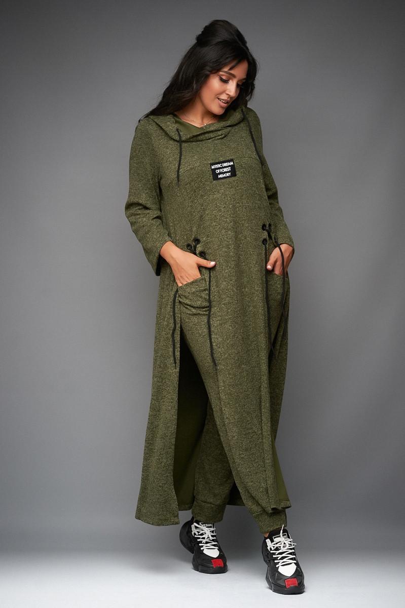 Оригинальный теплый женский ангоровый костюм: длинная туника с капюшоном и штаны, батал большой размер