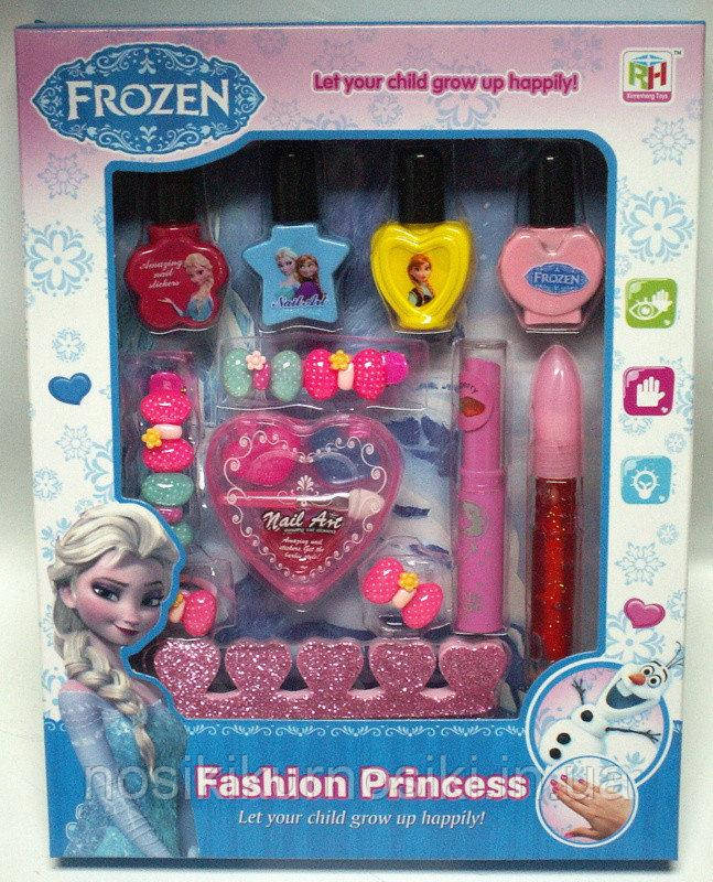 Детский маникюрный набор Frozen лак для ногтей, блеск для губ, заколки
