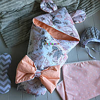 Конверт-одеяло с капюшоном и ушками, на синтепоне, Цветочки, фото 1