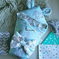 Конверт-одеяло с капюшоном и ушками, на синтепоне, Мишки на облаке