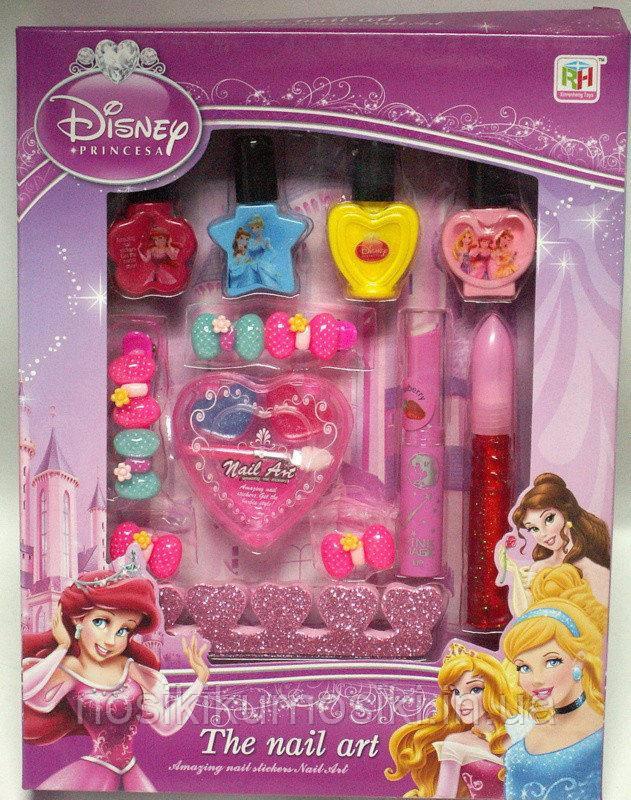 Детский маникюрный набор Принцессы Disney лак для ногтей, блеск для губ, заколки