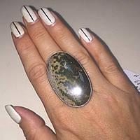 Яшма риолит крупное кольцо овал с натуральным риолитом яшмой в серебре 18,8 размер Индия