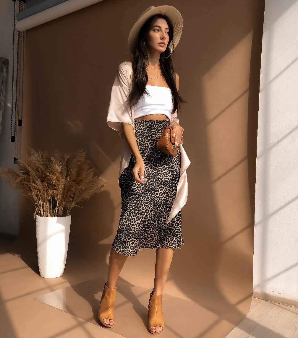 Леопардовая юбка из шелка