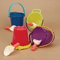 Набор для игры с песком и водой - ведерко с лопаткой (цвет томатный)