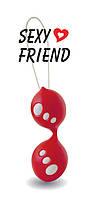Шарики вагинальные АБС пластик-силикон для тренировки интимных мышц Sexy Friend красный D 3,5 см L 10 см