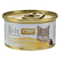 Консервы Brit Care Cat Chicken Breast & Cheese 80 г  (куриная грудка и сыр)