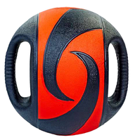 Мяч медицинский медбол с двумя рукоятками Record Medicine Ball 8кг (резина, d-27,5см, черный-красный, фото 1
