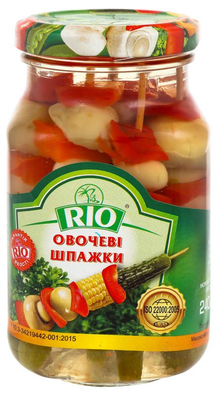 Овощные шпажки(грибы, кукурудза, огурчик, перец, лук) 240 грамм