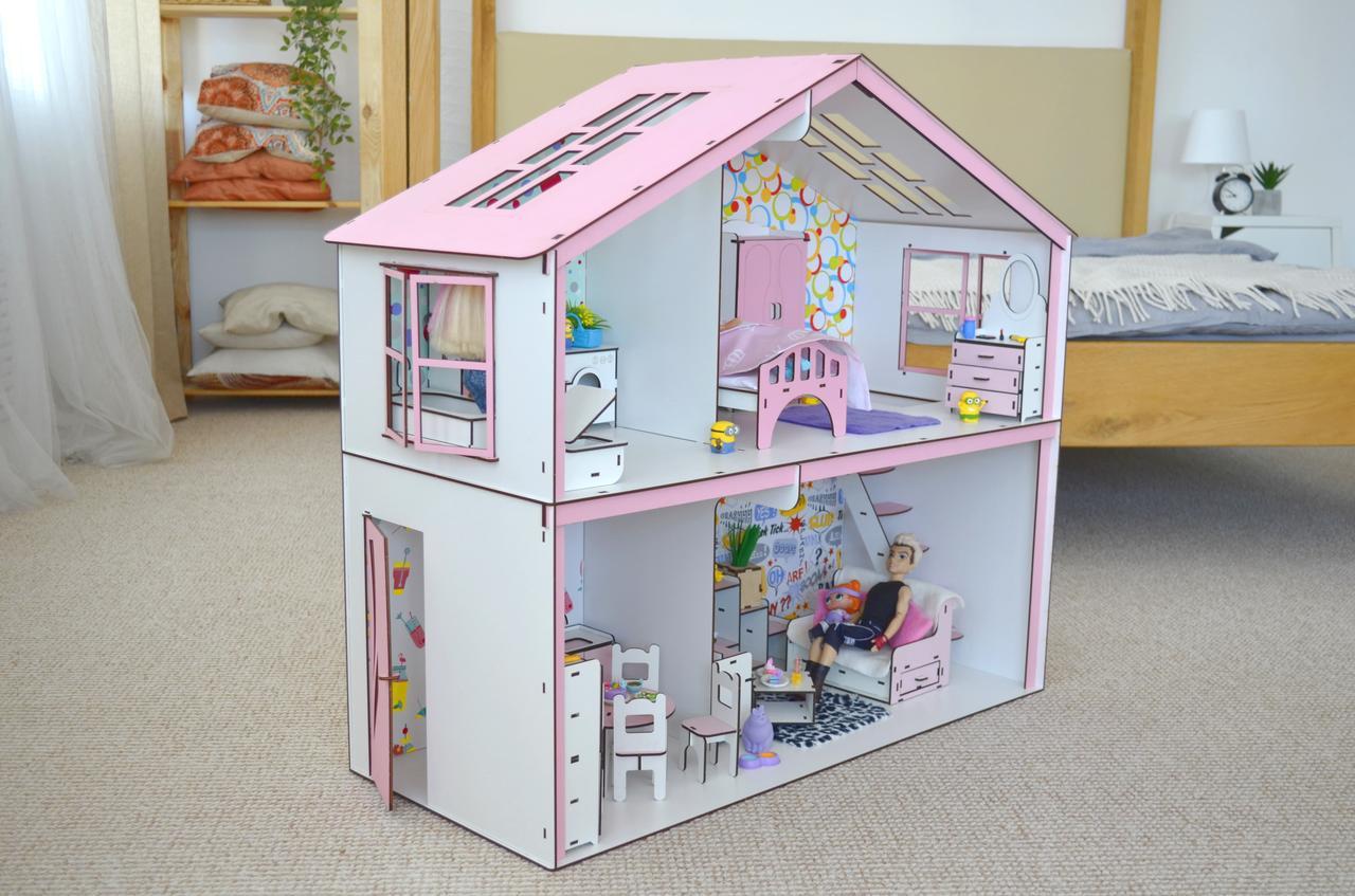 Волшебный Коттедж Барби с мебелью, обоями и текстилем