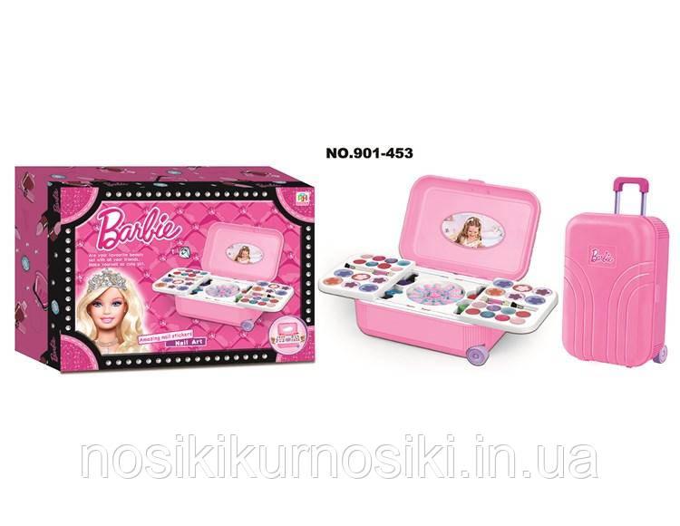 Детский набор декоративной косметики в чемодане на колесах Barbie лак для ногтей, блеск для губ, тени
