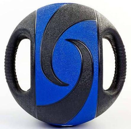 Мяч медицинский медбол с двумя рукоятками Record Medicine Ball 9кг (резина, d-27,5см, черный-синий)