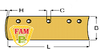 Нож ковша (режущая кромка) 1828х203х16 мм Caterpillar 7T1639