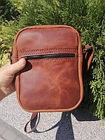 Мужская кожаная сумка из натуральной кожи ручной работы Revier коричневая
