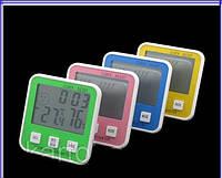 Термометр, часы, гигрометр, будильник, измерение влажности, календарь, на подставке, крепление на магните (К)