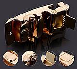 Ремень мужской классический кожаный с пряжкой автомат (серебро), фото 5