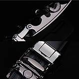Ремень мужской классический кожаный с пряжкой автомат (серебро), фото 7